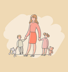 a woman with children a boy and a girl vector image