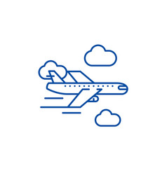 airplane line icon concept airplane flat vector image
