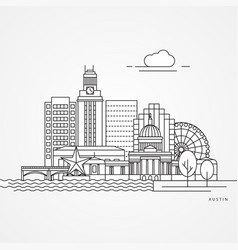 Austin usa detailed silhouette vector