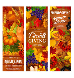 autumn friendsgiving holiday potluck dinner vector image