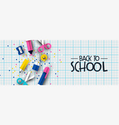 back to school 3d papercut kid notebook banner vector image