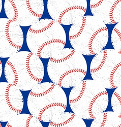 Baseballs with distressed texture seamless pattern vector