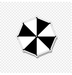 beach striped umbrella top view icon isolated on vector image