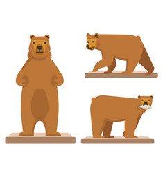 big brown forest bear set of three vector image