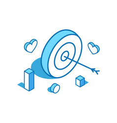 Bullseye arrow blue line isometric vector