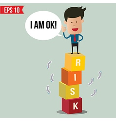 Business man stand on risk block - - eps10 vector