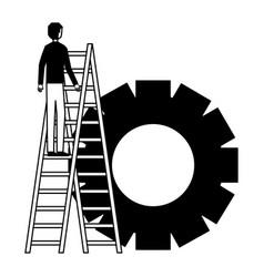 Businessman climbing stairs gear team vector