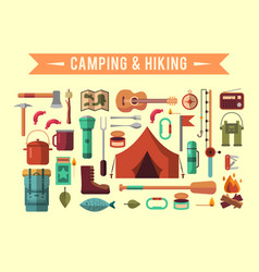 Camping flat set with hiking equipment vector