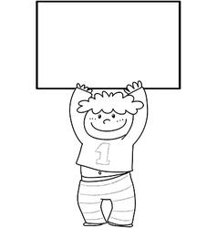 Cartoon boy with sign vector