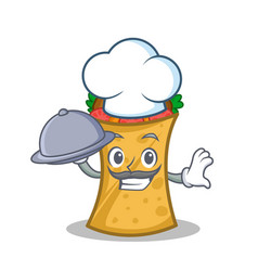 chef with food kebab wrap character cartoon vector image