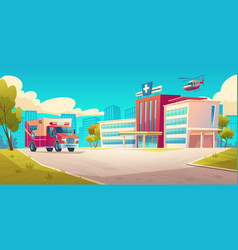 Cityscape with hospital building and ambulance car vector