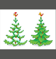 collection christmas trees on a white vector image