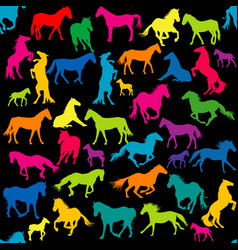 colored seamless with horses silhouettes vector image