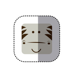 Colorful face sticker of zebra face in square vector