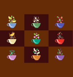 cups of herbal tea set fruit and berry tea vector image