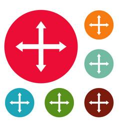 Cursor displacement web icons circle set vector