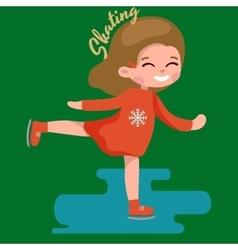 Cute little girl ice skating kids sport on frozen vector image