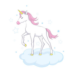 Cute unicorn magic character with pink mane vector