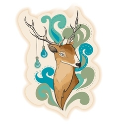 Deer with lamps on horns vector image