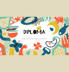 Diploma template doodle contemporary certificate vector
