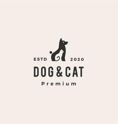 Dog cat pet hipster vintage logo icon vector
