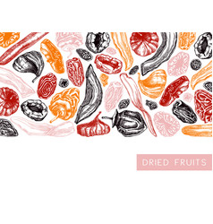 Dried fruits and berries frame design vintage vector