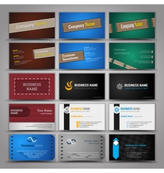 Fifteen colorful business card template vector