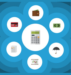 Flat icon gain set of calculate greenback vector