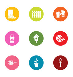 garden business icons set flat style vector image