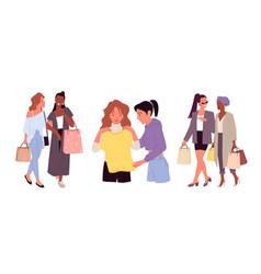girls shopping set fashion shop sale happy vector image