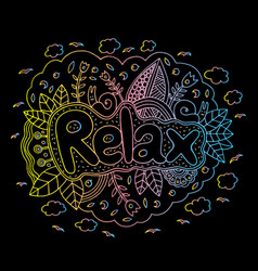 Graphic art with mandala and relax gradient word vector