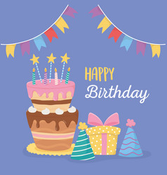 Happy birthday cake candles party hats gift box vector