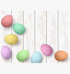happy easter congratulatory easter white wooden vector image