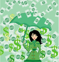Happy woman holding an umbrella in a money rain vector image