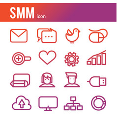 internet business icon outline icons set vector image