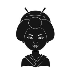 japanesehuman race single icon in black style vector image