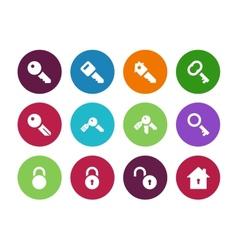 Key circle icons on white background vector image