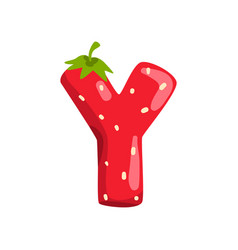 Letter y english alphabet made from ripe fresh vector