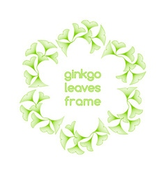 Linear ginkgo biloba leaves frame vector