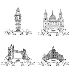 london famous buildings set engraving collection vector image