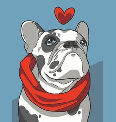 love bulldog vector image