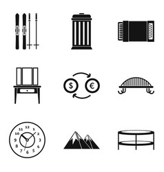 Luxury dwelling icons set simple style vector