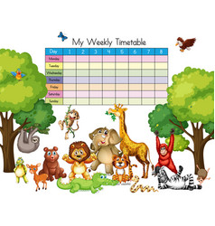 Many animals on time table template vector