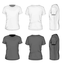 Men white and black short sleeve t-shirt vector