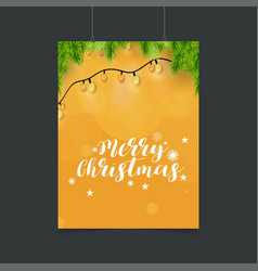 merry christmas orange glowing background with vector image