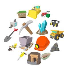 mining icons cartoon set vector image