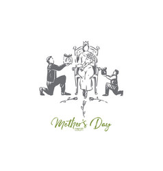 mother day concept sketch isolated vector image