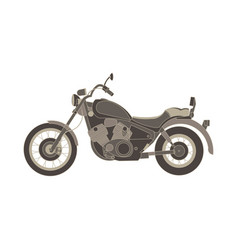 motorcycle flat icon chopper motorbike side view vector image