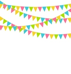 Multicolored bright buntings flags garlands vector image