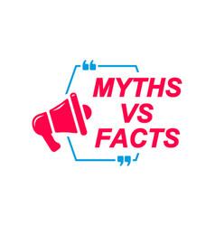 Myths vs facts labels speech bubbles vector